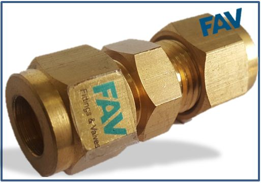 Brass union double ferrule compression tube fittings