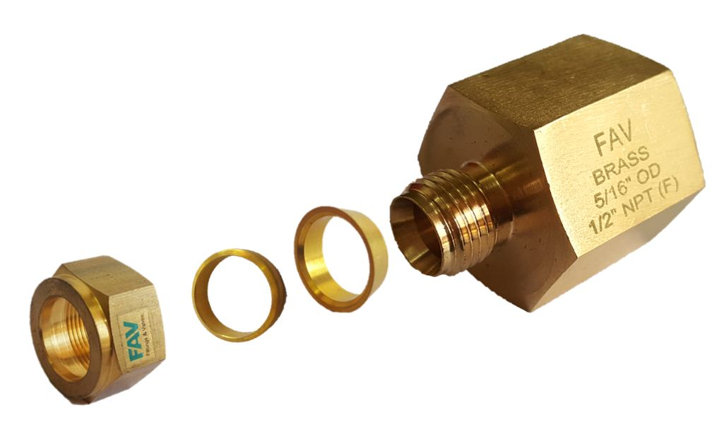Brass female connector double compression tube fittings
