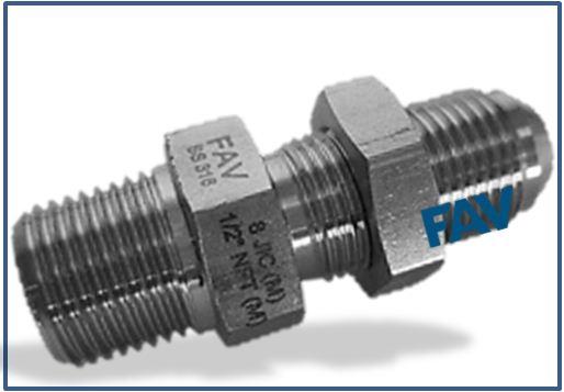 Bulkhead Adaptor JIC Male X NPT/BSP Male