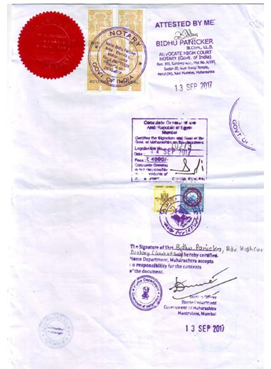 Legalization by Embassy -Certificate of Origin
