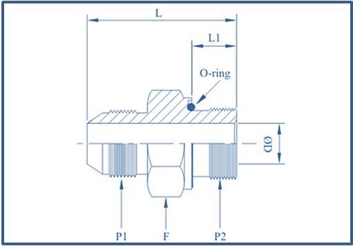 Adaptor JIC X O Ring & Waher Metric