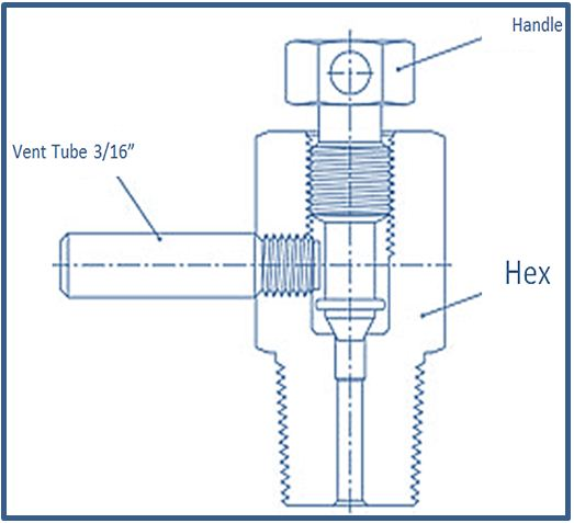 Bleed Valve , Type B , with Vent Tube, , Upto 6000 psi