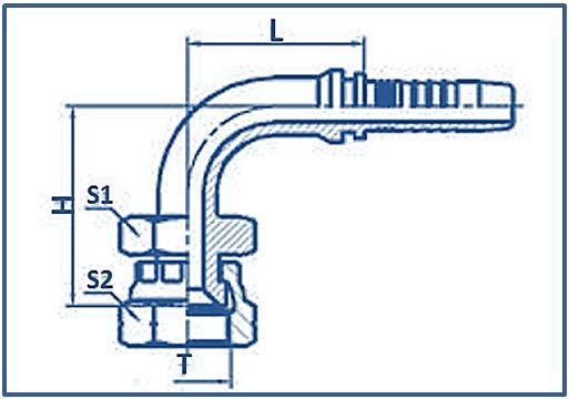 Hose-Fitting-JIS-Gas-Female-60°-Seat-JIS-B8363-90°ELBOW-JIS-GAS-FEMALE-60°CONE