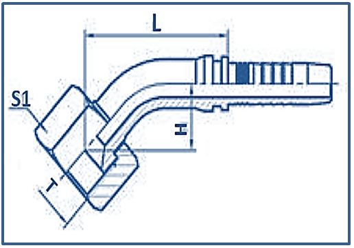 Hose-Fitting-Metric-Thread-74°-Fitting-45°ELBOW-GB-METRIC-FEMALE-74°CONE-SEAT