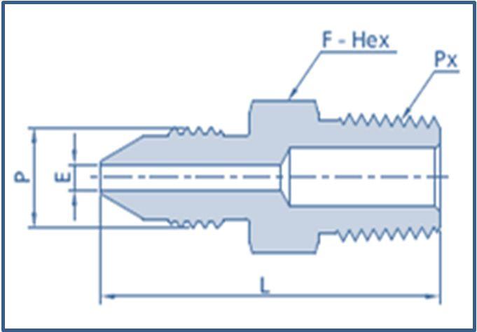 Medium Pressure MP Male to Male NPT Threads Adapter