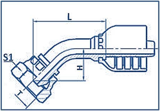 One-piece-Hose-Fitting-BSP-Thread-60°-Cone-Fitting-45°ELBOW-BSP-FEMALE-60°CONE