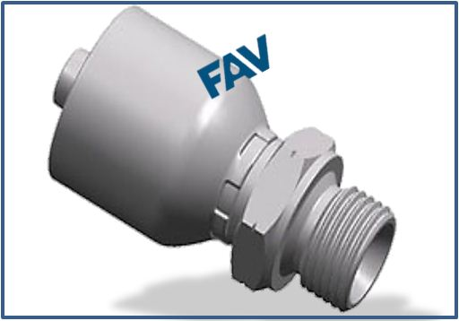One piece Hose Fitting (BSP Thread 60° Cone Fitting) - BSP MALE DOUBLE USE FOR 60°CONE SEAT OR BONDED SEAL