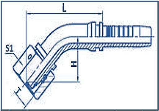 Hose Fitting Metric Thread 24° Cone Series 45°ELBOW METRIC FEMALE 24°CONE O RING L.T.