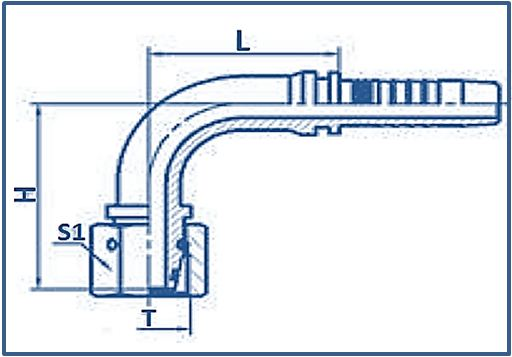 Hose-Fitting-Metric-Thread-24°-Cone-Series-90°ELBOW-METRIC-FEMALE-24°CONE-O-RING-L.T.