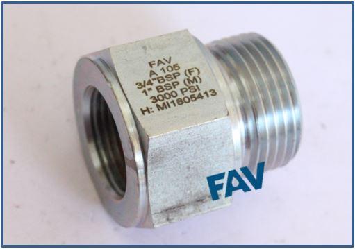 Carbon Steel A105 Hex Adaptor Male X Female BSP BSP 2