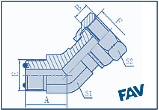 ORFS Fittings- 45º ORFS MALE-ORFS FEMALE