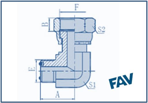 ORFS Fittings - 90º ORFS MALE-ORFS FEMALE
