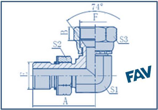 ORFS Fittings- SAE O-RING BOSS-JIC FEMALE 74º SEAT