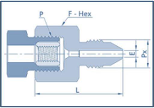 High Pressure Adaptor Female NPT Threads x MP Male.