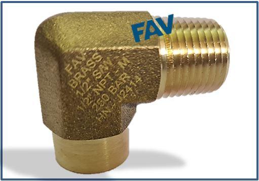 Brass Elbow SW Socket Weld X NPTM
