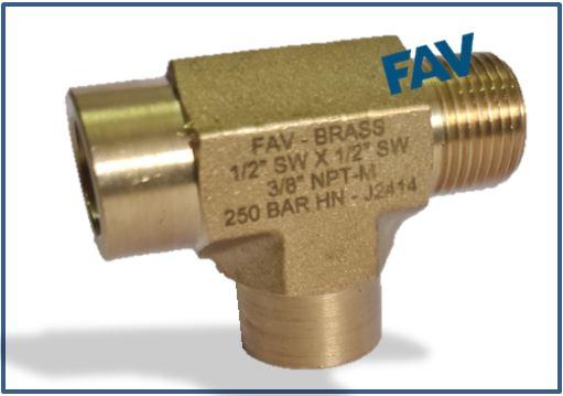 Brass Tee SW Socket Weld X NPT